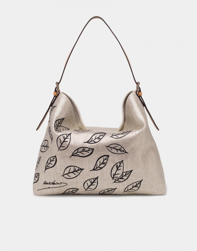 Natural fabric metallic Hobo Summer bag