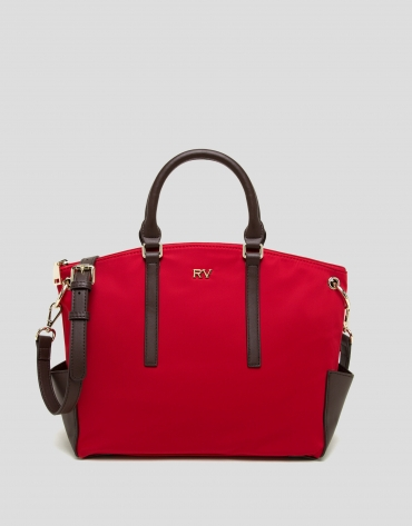 Red midi Candem leather shopper bag