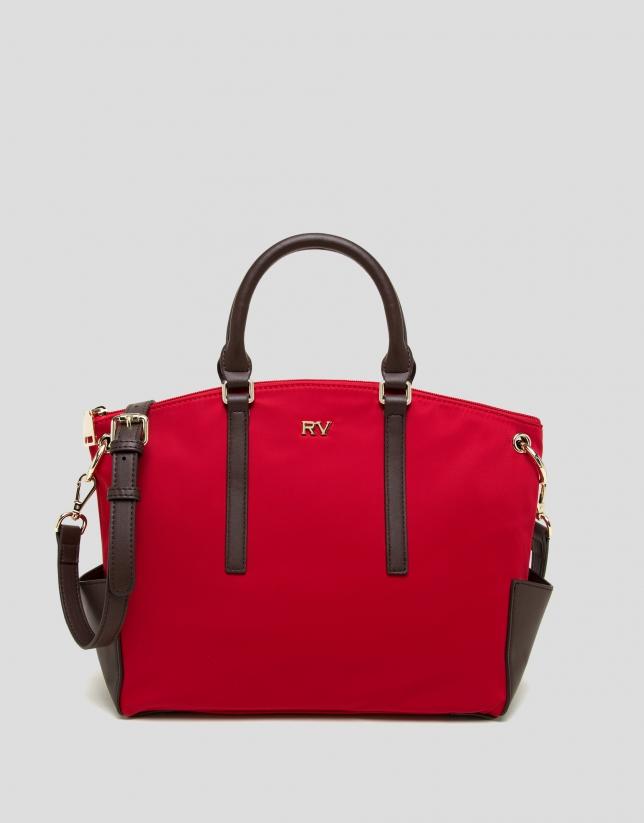 Red midi Candem leather shopper bag