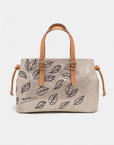 Natural fabric metallic shopping bag