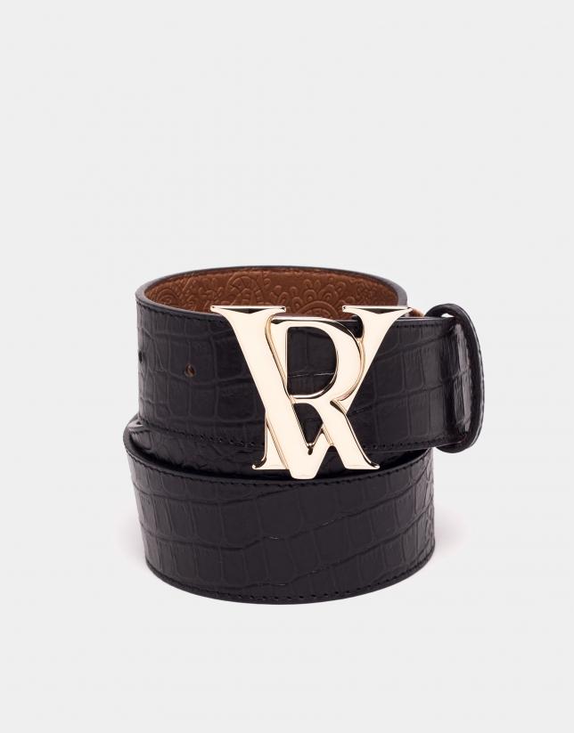 Cinturón piel grabado coco negro