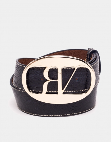 Blue tejus embossed leather belt