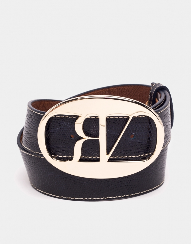 Blue python embossed leather belt