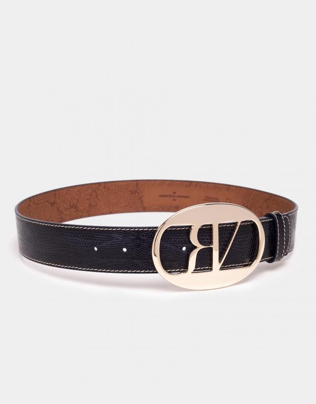 Cinturón piel grabado tejus azul