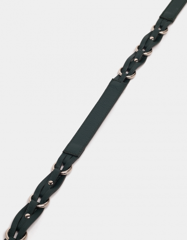 Cinturón piel trenzada verde esmeralda
