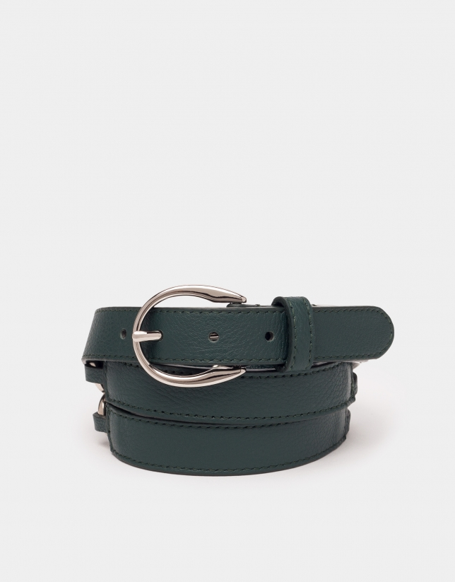 Emerald green braided leather belt