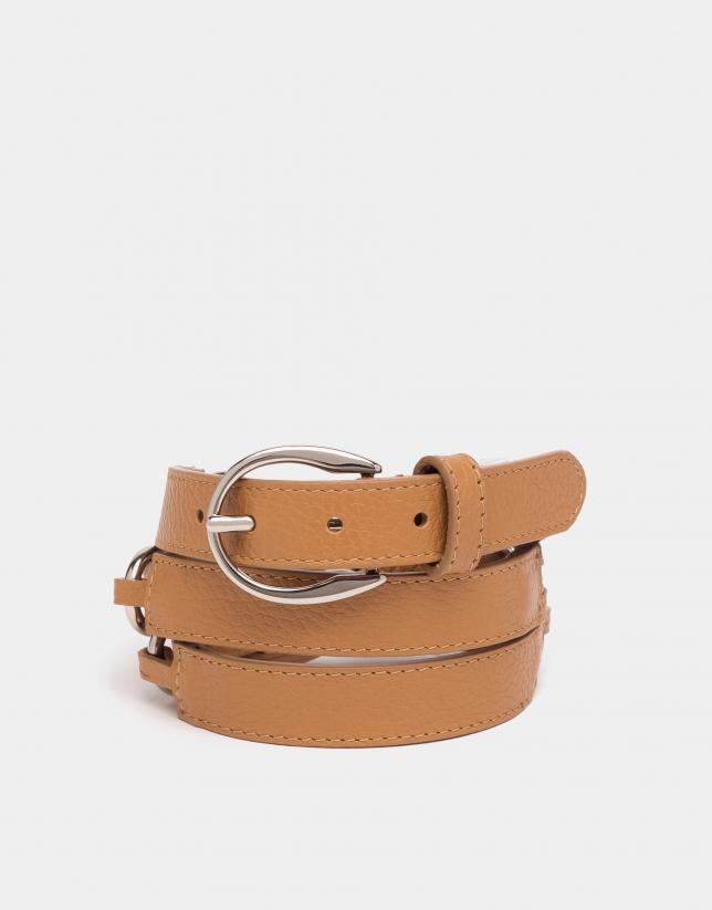 Cinturón piel trenzada cámel