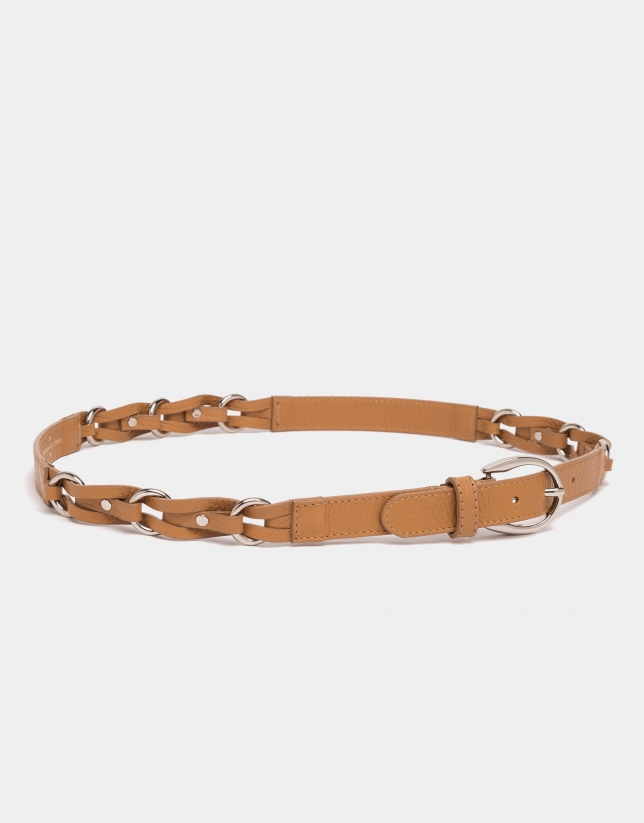 Camel braided leather belt