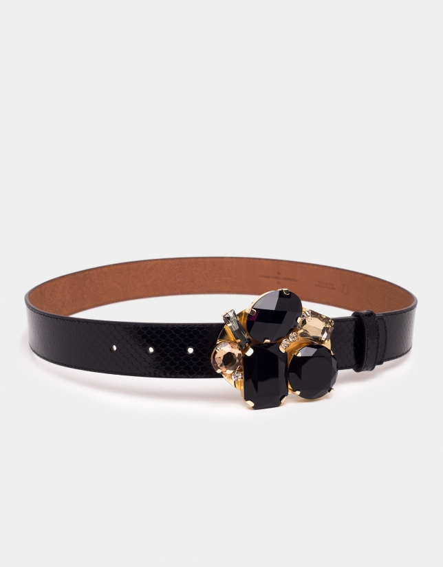 Cinturón piel negra hebilla joya