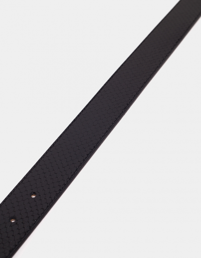 Black leather belt with jewel buckle