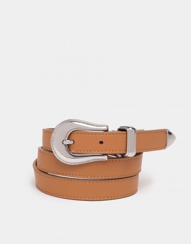 Cinturón piel café