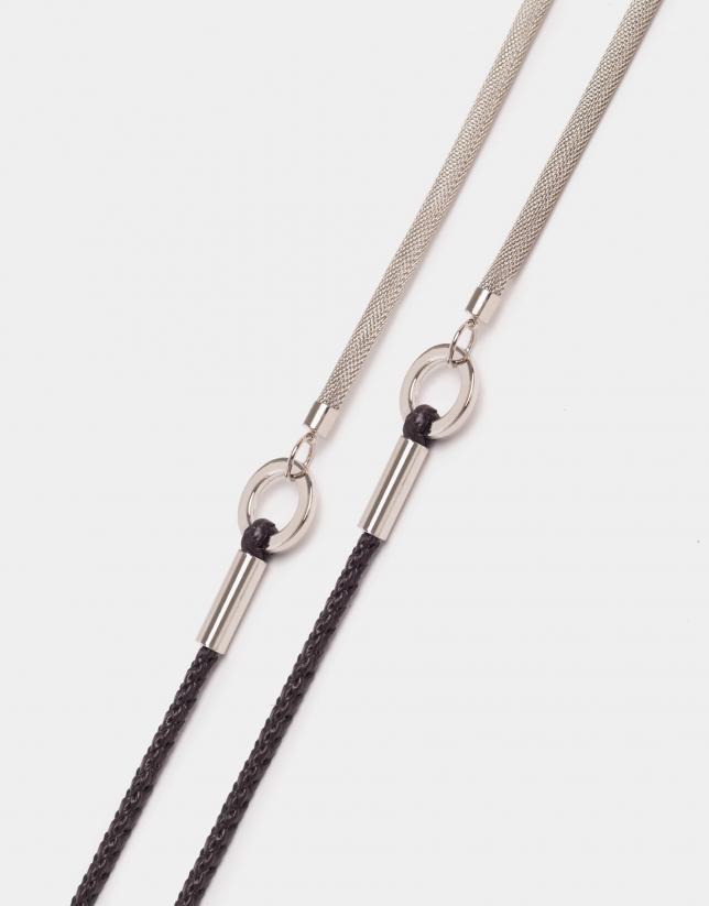 Cinturón de cordón en piel y metálica