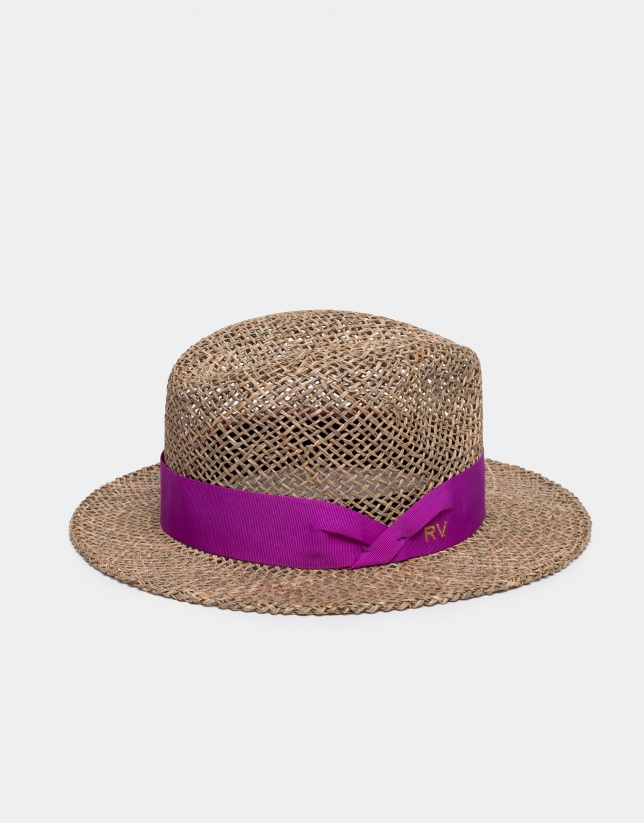 Rattan hat with pink ribbon