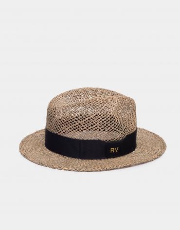 Chapeau en rotin à ruban noir
