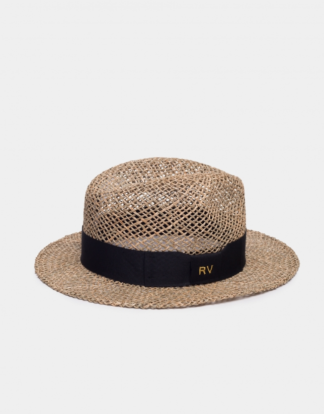 Rattan hat with black ribbon