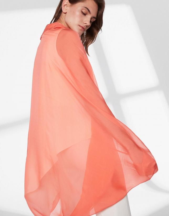 Pastel orange silk shawl