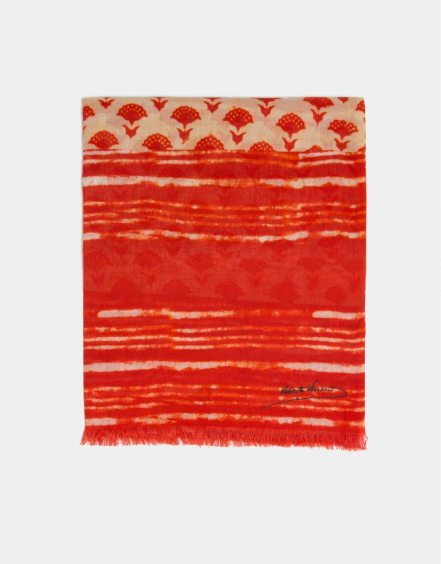 Red scarf with geometric print