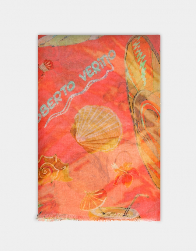 Coral linen scarf with beach print