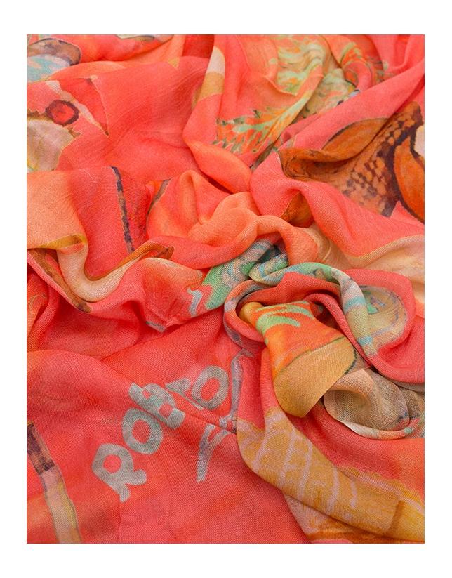 Fular lino estampado playero coral