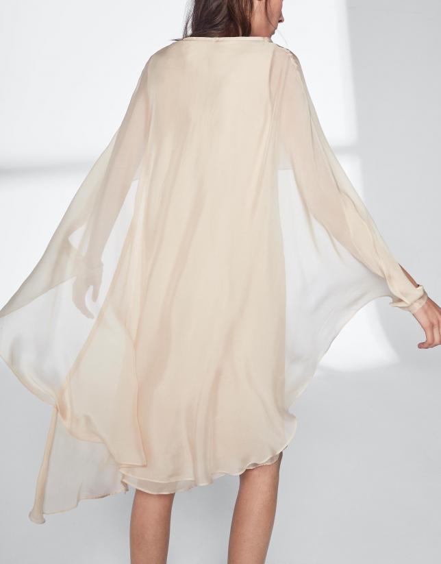 Hazelnut silk poncho