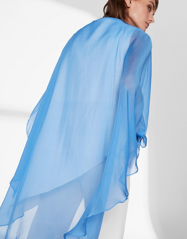 Ultramarine blue silk poncho