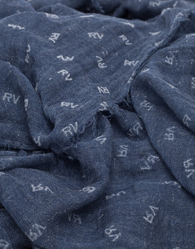 Plain navy blue scarf with RV print