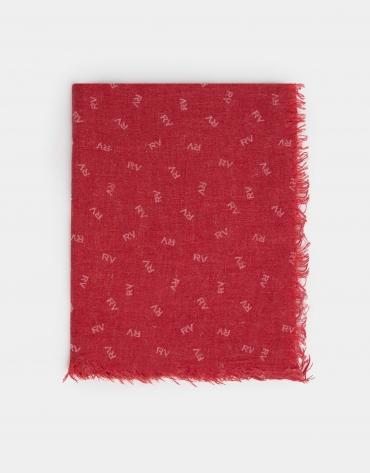 Fular liso rojo estampado RV