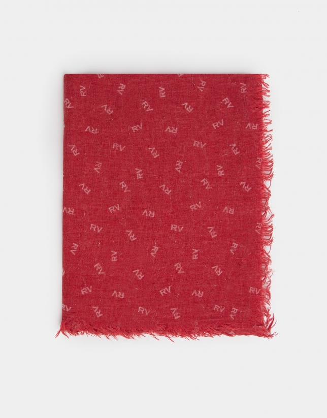 Plain red scarf with RV print
