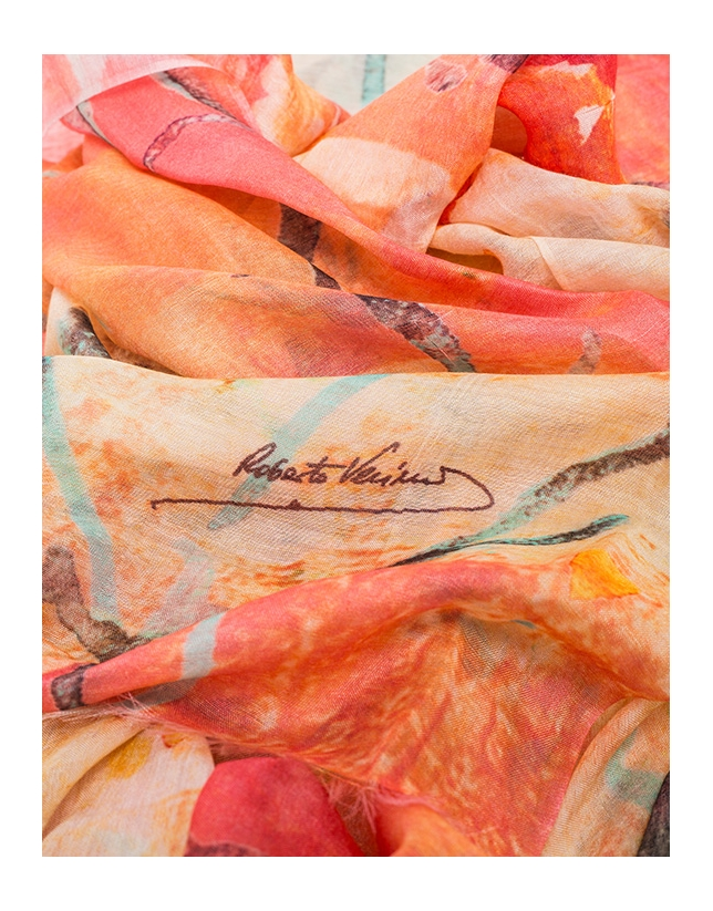Fular estampado floral naranja pastel