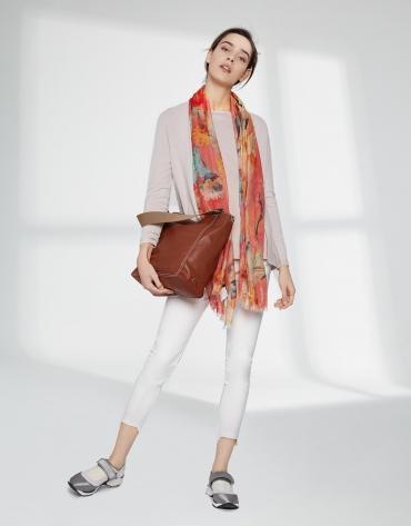 Pastel orange floral print scarf