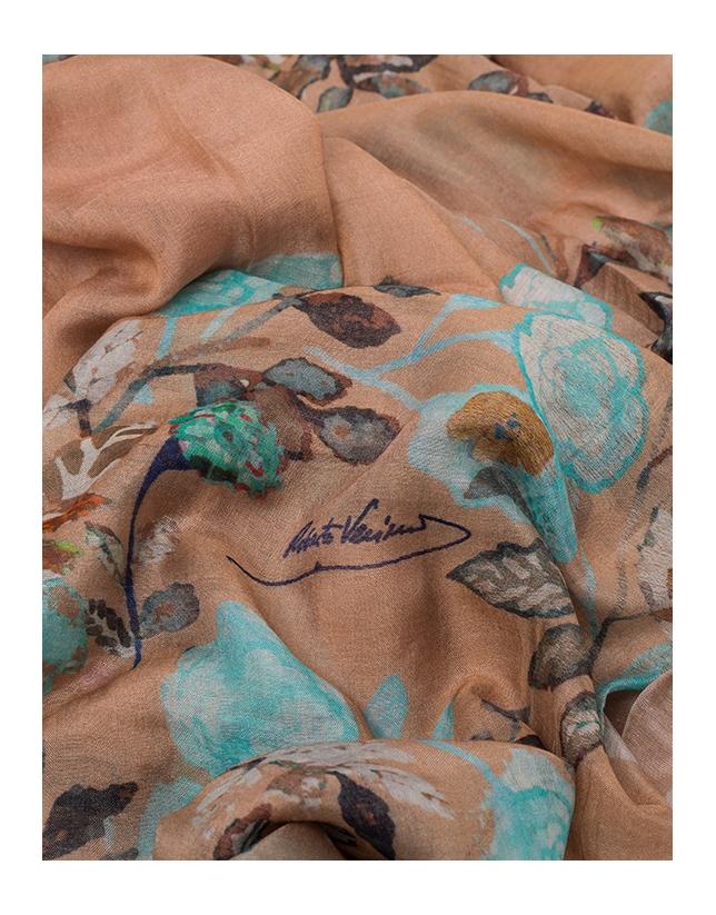 Beige floral print scarf