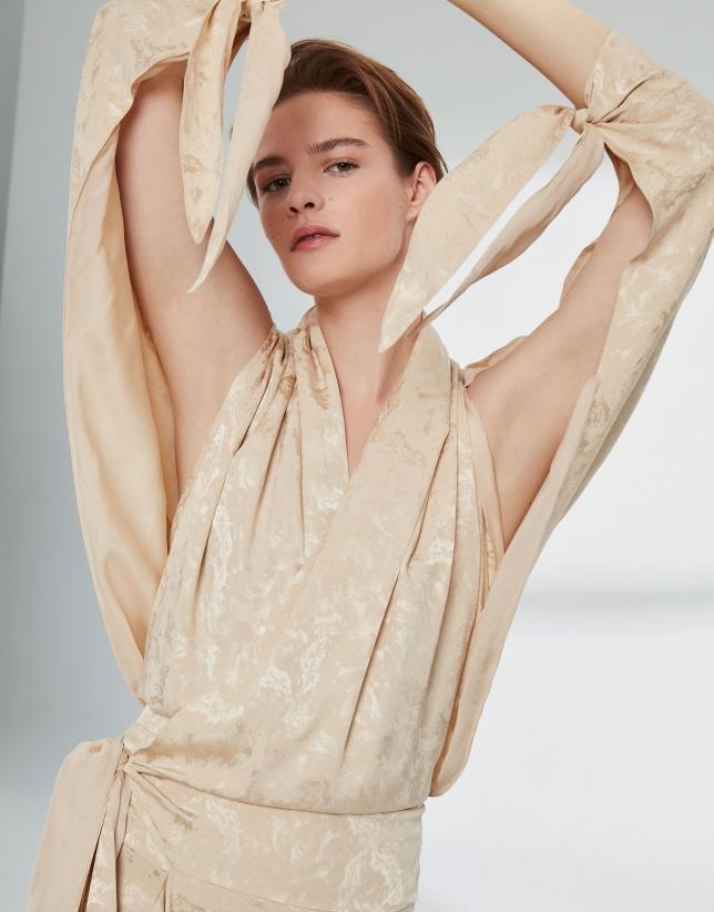 Vestido largo seda  vainilla