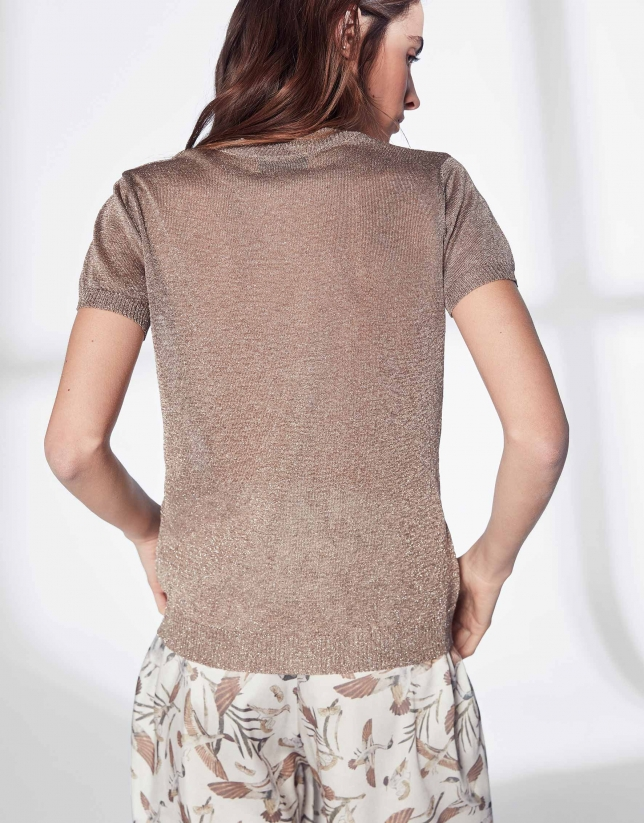 Sandy-colored knit, short-sleeved sweater