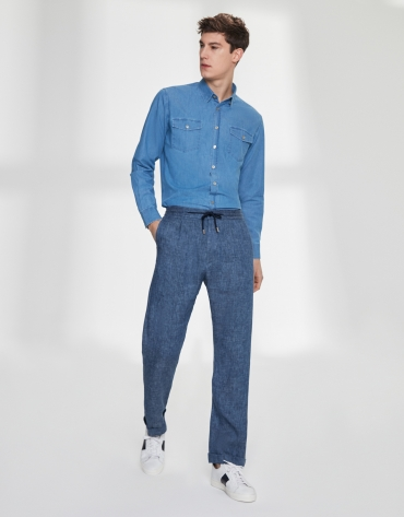 Pantalon à lacet en lin/coton bleu indigo