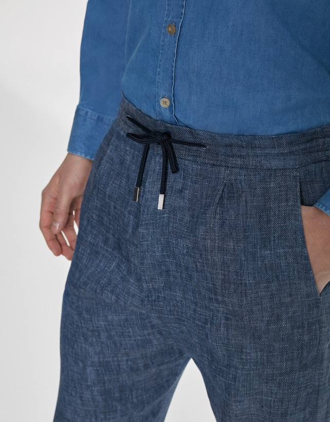 Indigo linen/cotton pants with drawstrings