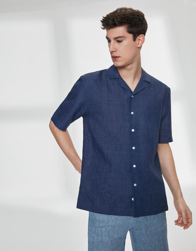 Camisa guayabera lino azul