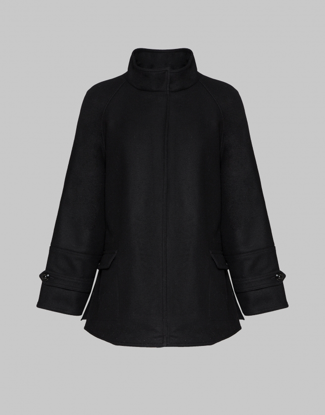 Black short coat with Mao collar