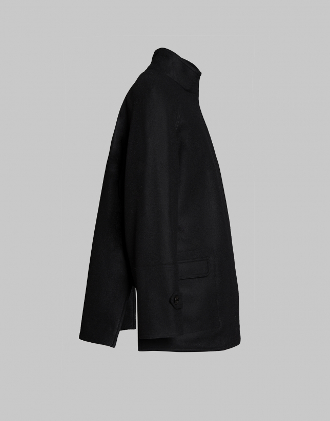 Manteau court col Mao noir