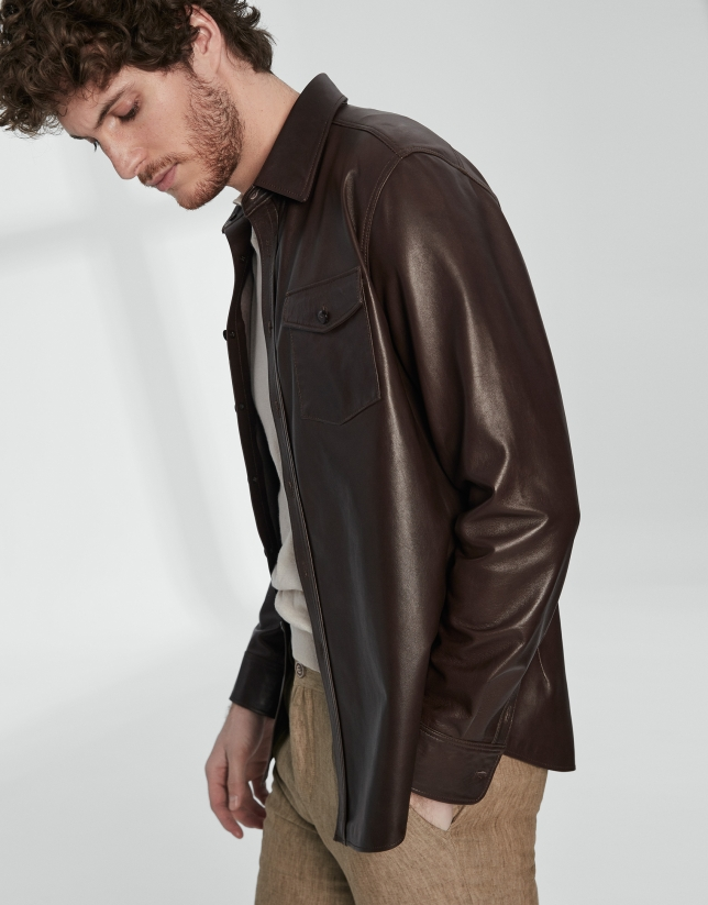 Brown leather top shirt