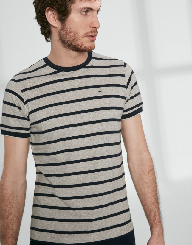 Grey top with navy blue stripes