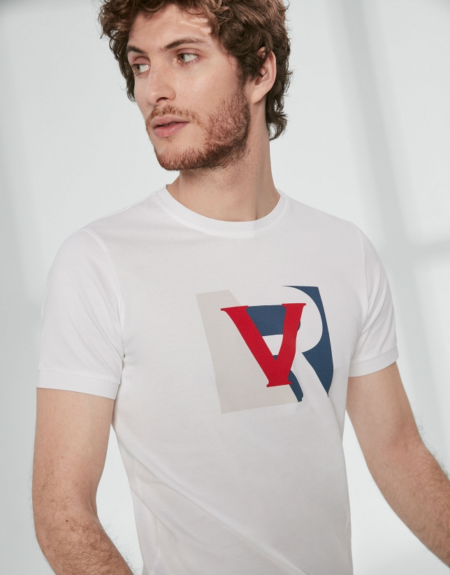 White t-shirt with logo RV colour block