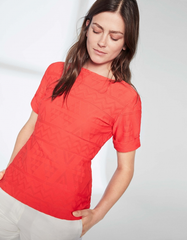 Ruby, embossed fabric top