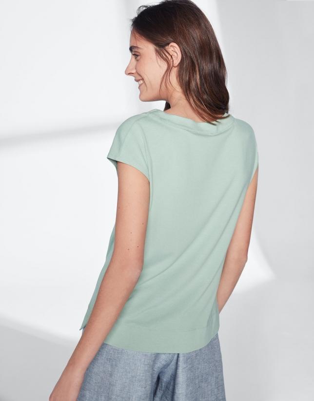 T-shirt vert pastel col V