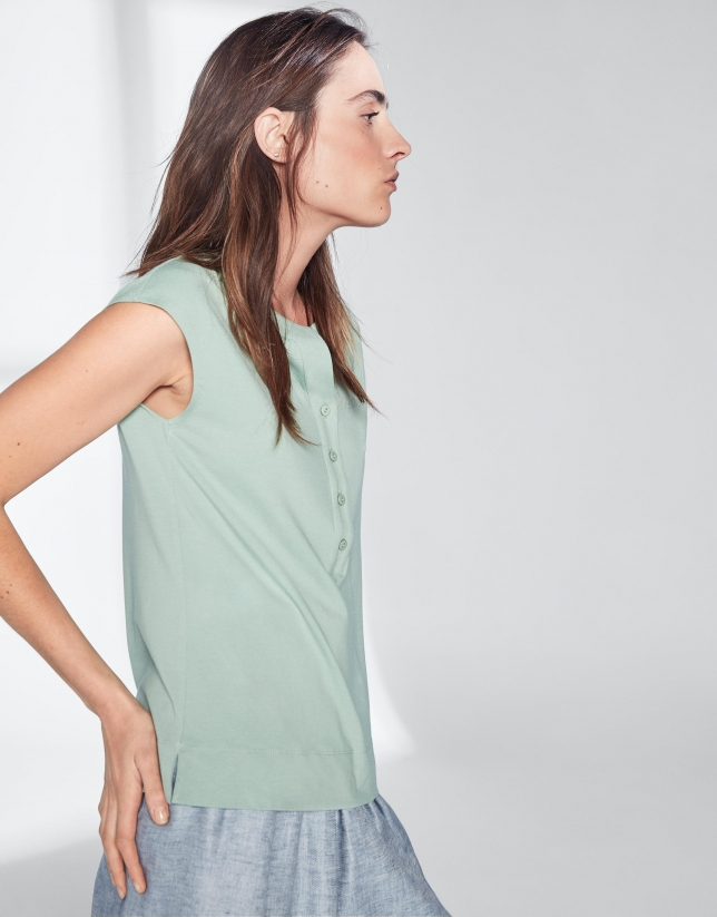 Green pastel top with V-neck