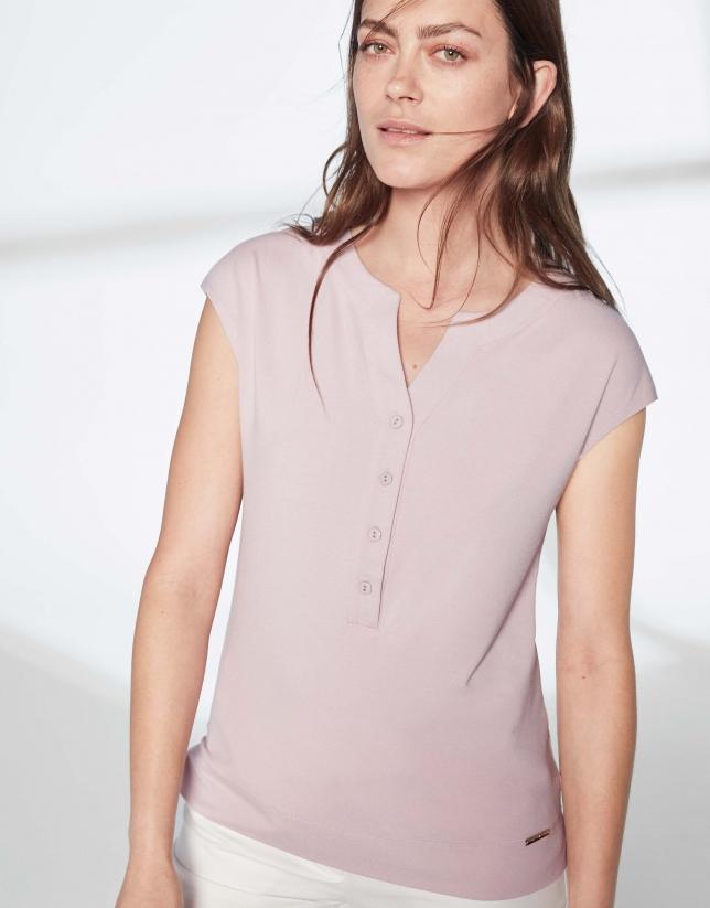 Camiseta escote pico rosa