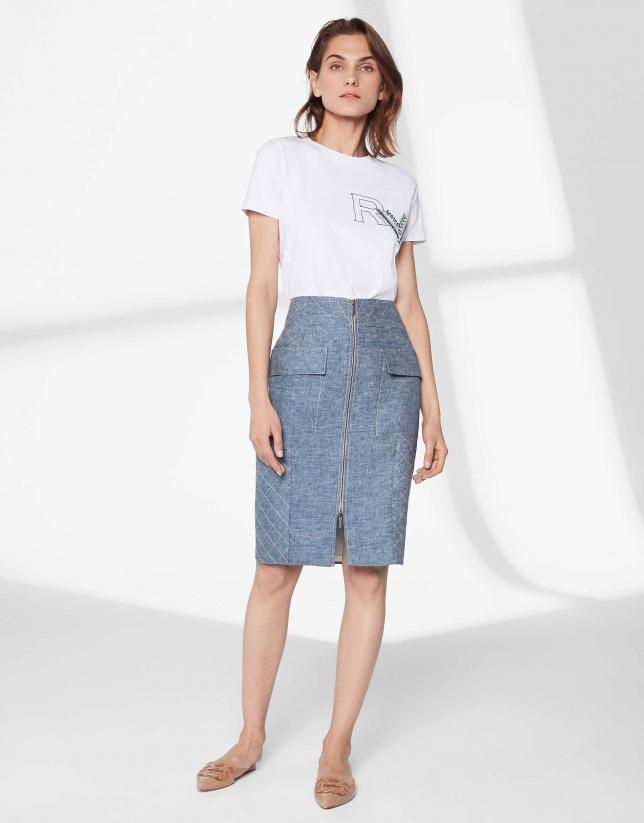 Falda midi lino azul