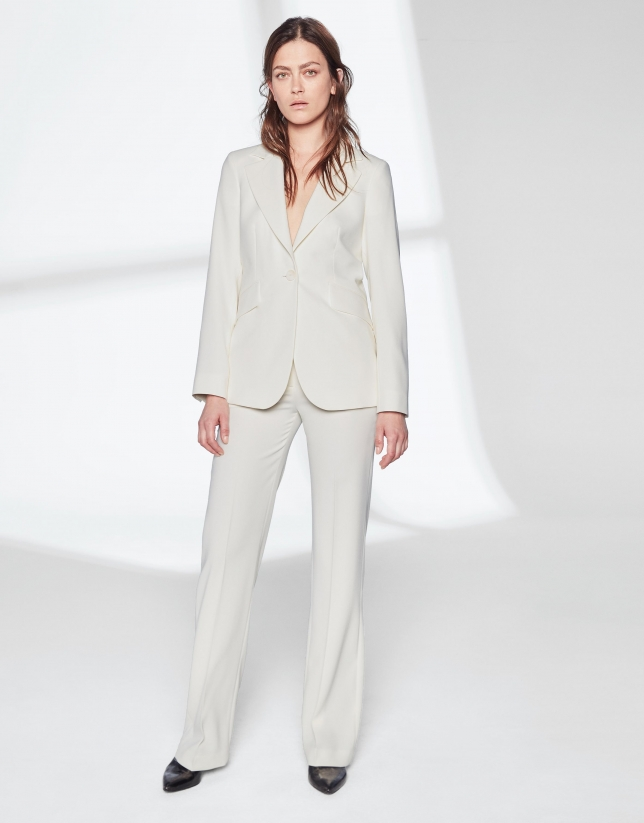Pantalon tailleur blanc ivoire