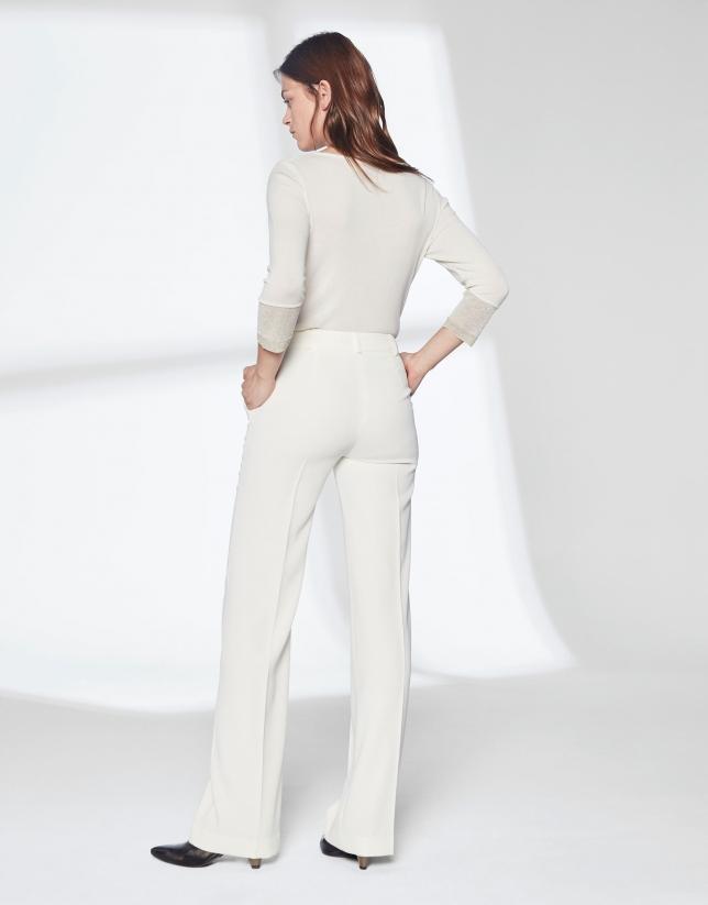 Pantalón traje blanco marfil