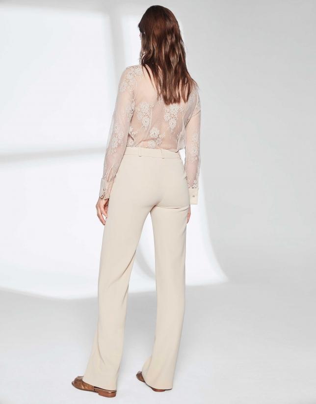 Pantalon tailleur couleur sable