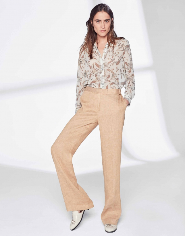 d68168a2b6 Mink-colored linen pants suit - Woman - SS2019 | Roberto Verino